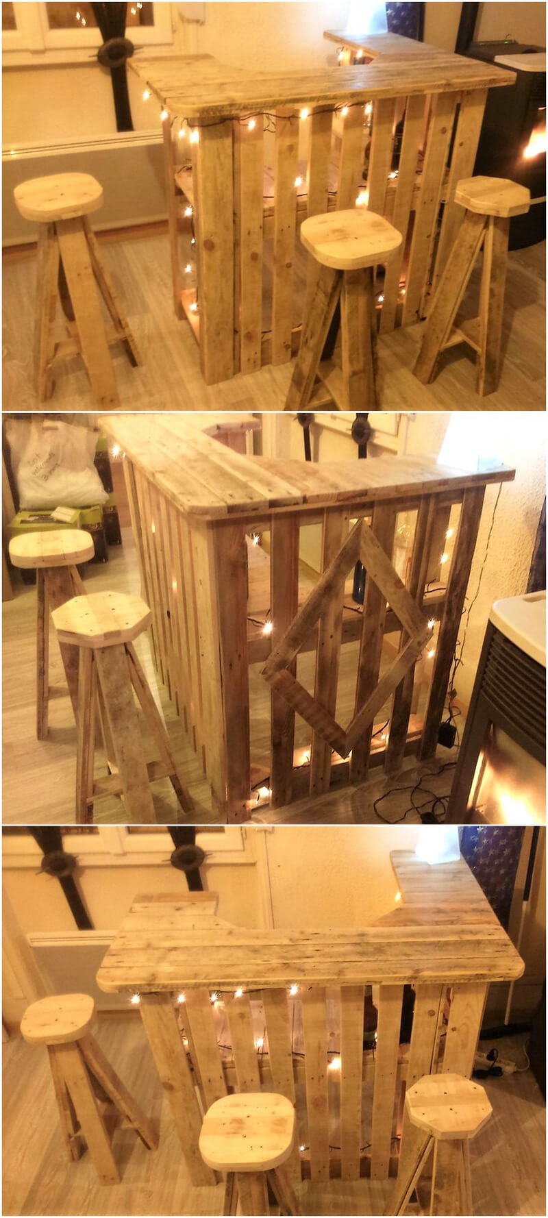 wood pallet bar with stools