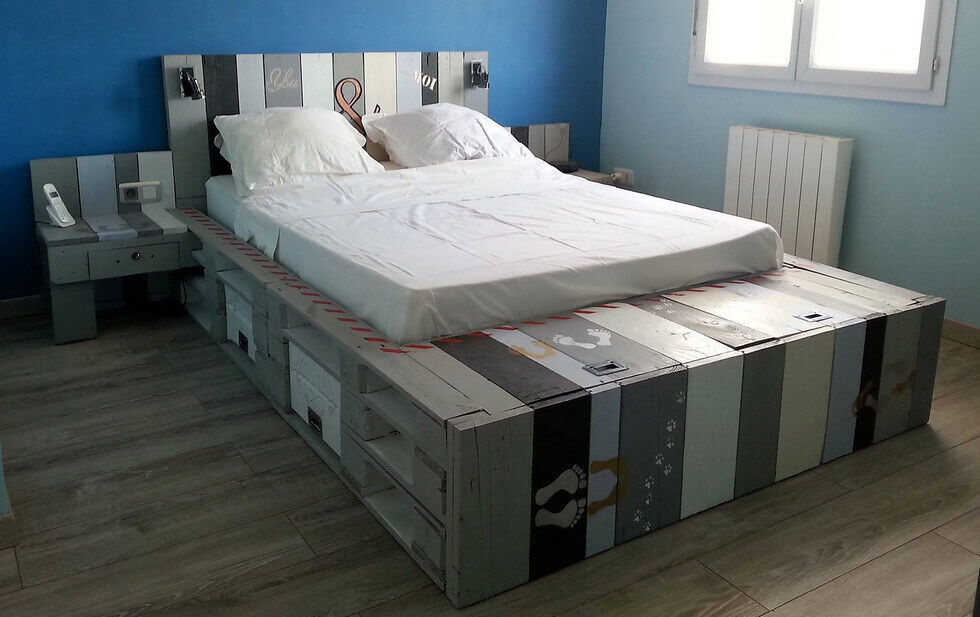 wood pallet bed with attached side tables