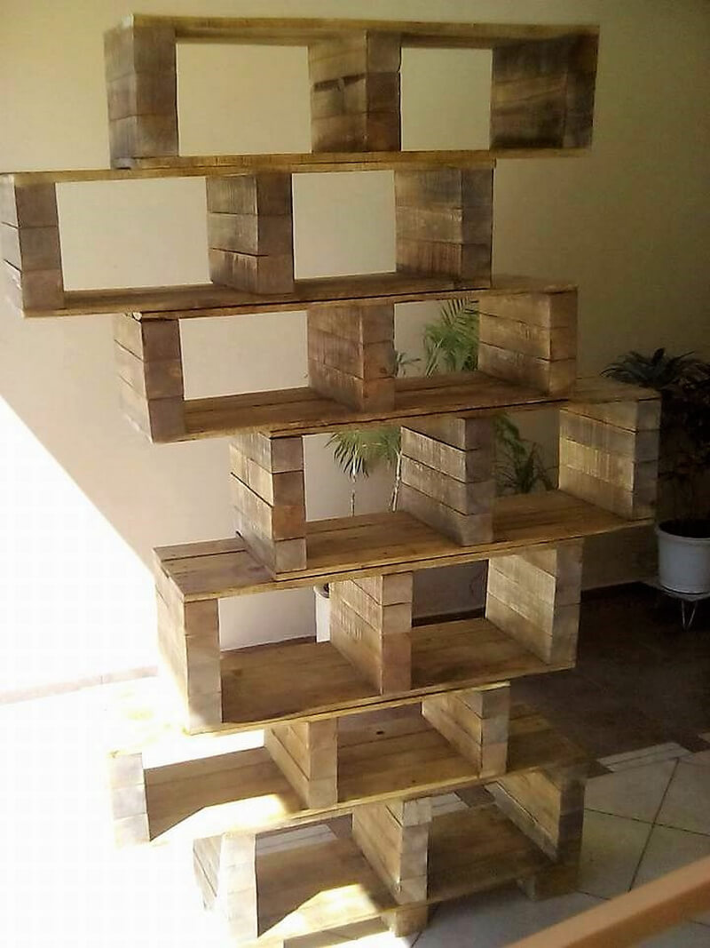 wood pallet shelving art