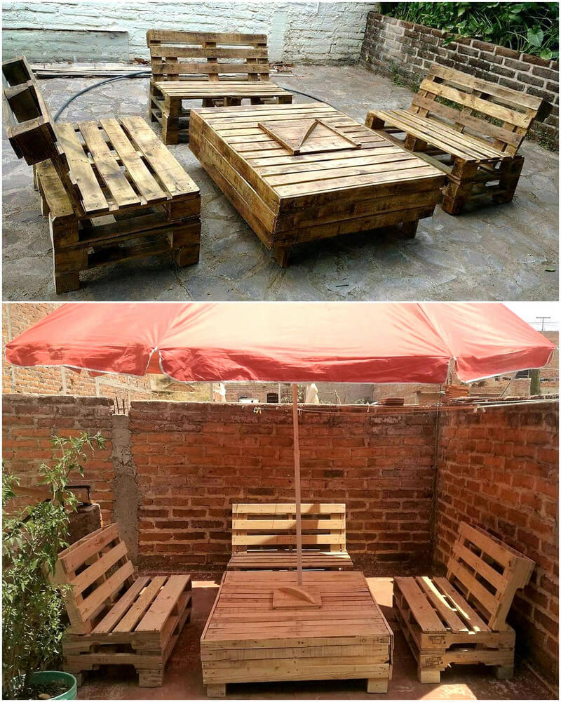 wooden pallets outdoor furniture set