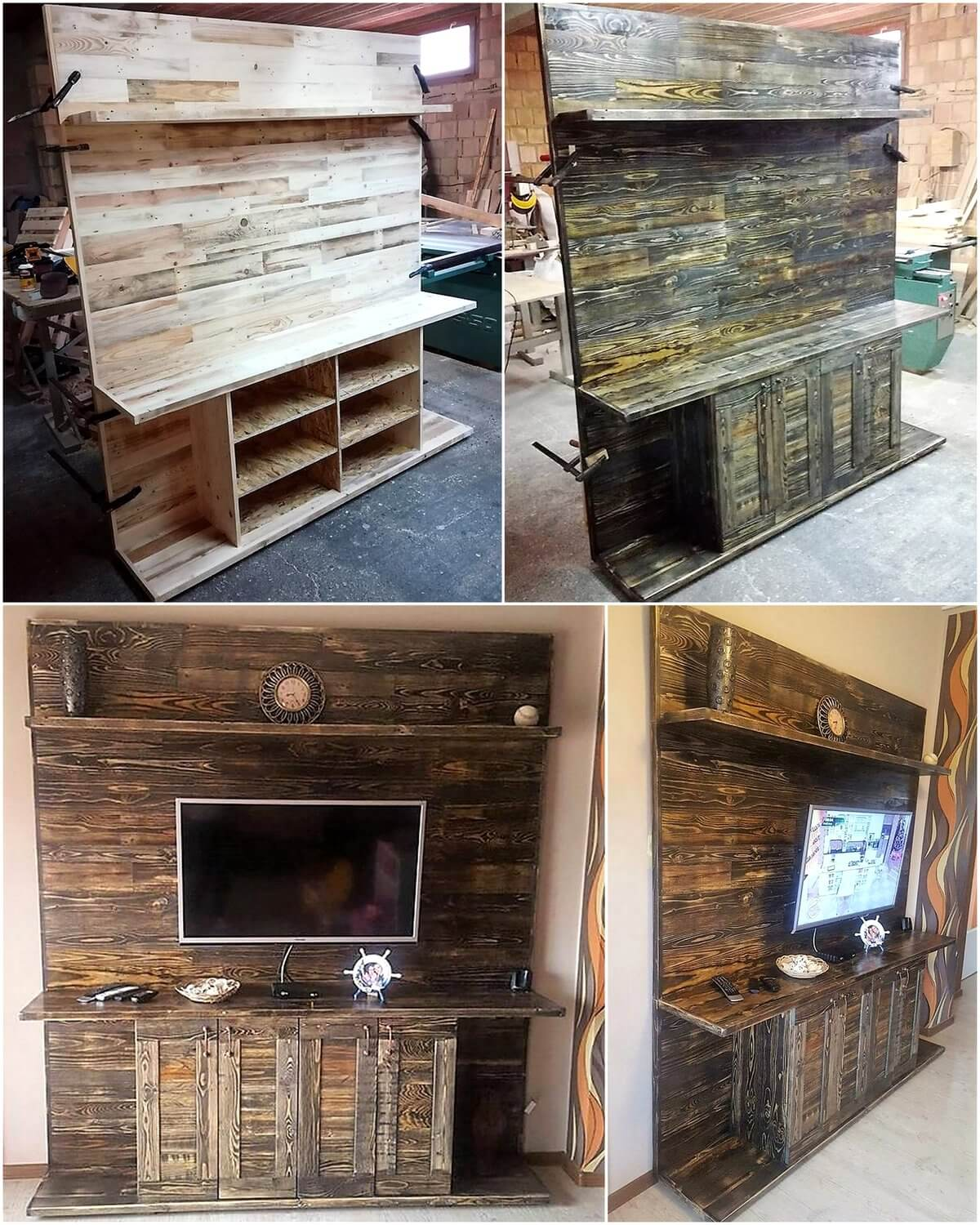 Repurposed wooden pallets made tv stand pallet ideas for Repurposed pallet projects