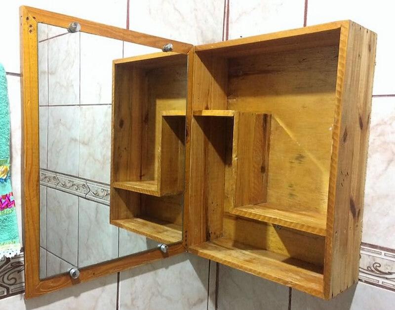 Wooden Pallet Mirror and toilet shelf