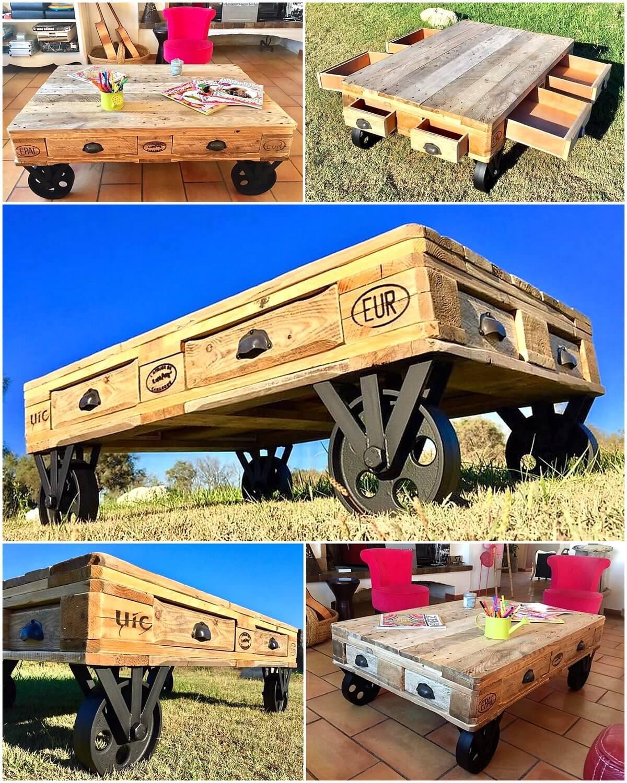 Wooden Pallets Cute Coffee Table on Wheels