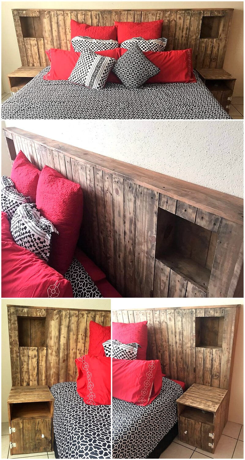 creative pallet bed headboard with side tables