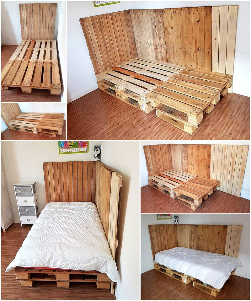 diy pallets wood corner bed