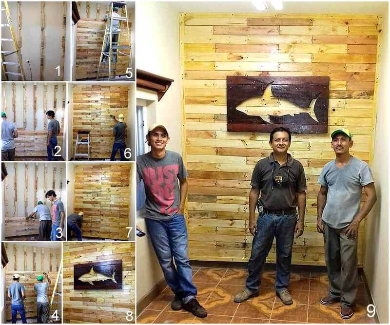 diy pallets wooden wall cladding