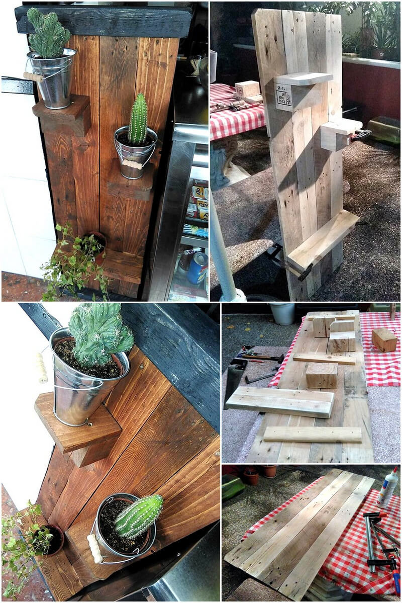 diy wood pallet wall pots stand