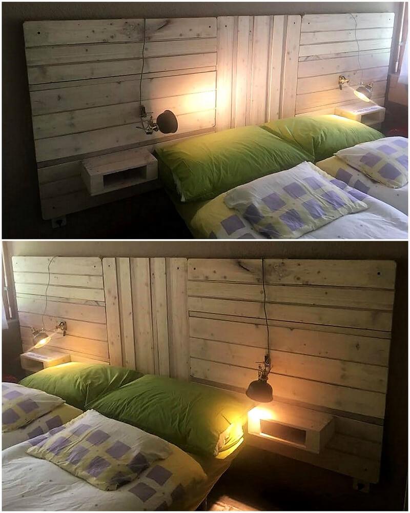 Pallets Made Bed Headboard Idea