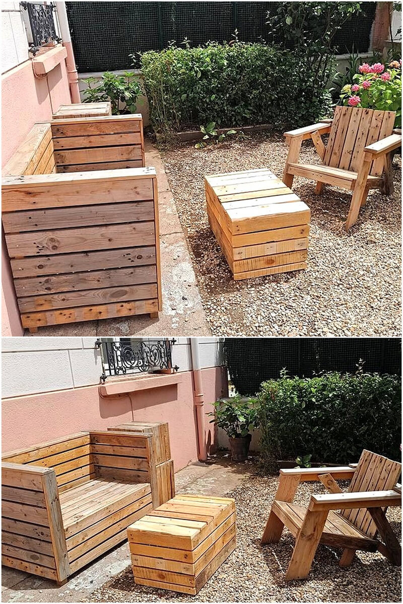 pallets made garden furniture