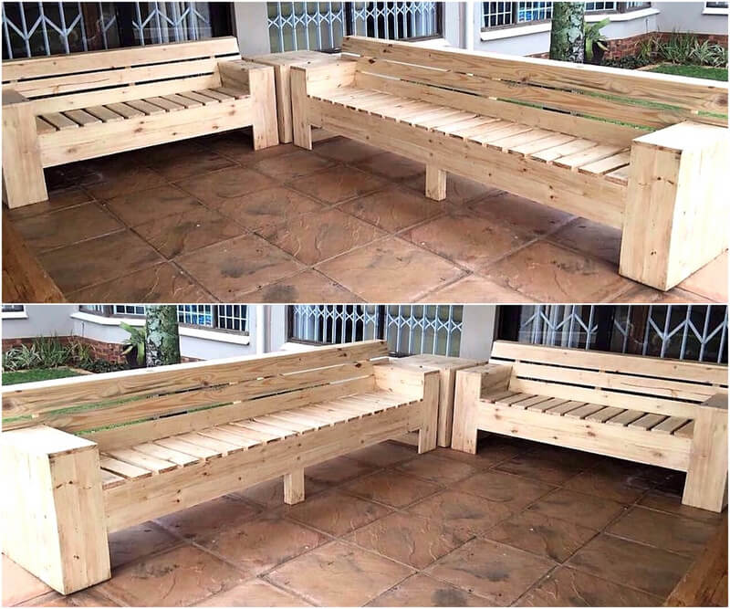 pallets wood giant patio bench