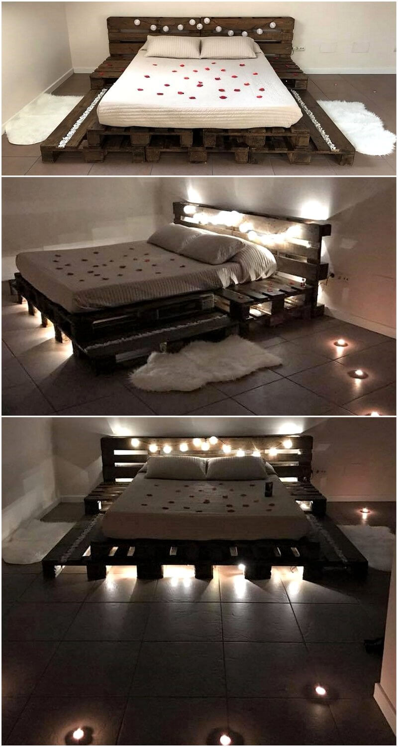 Wooden Pallets Made Bed