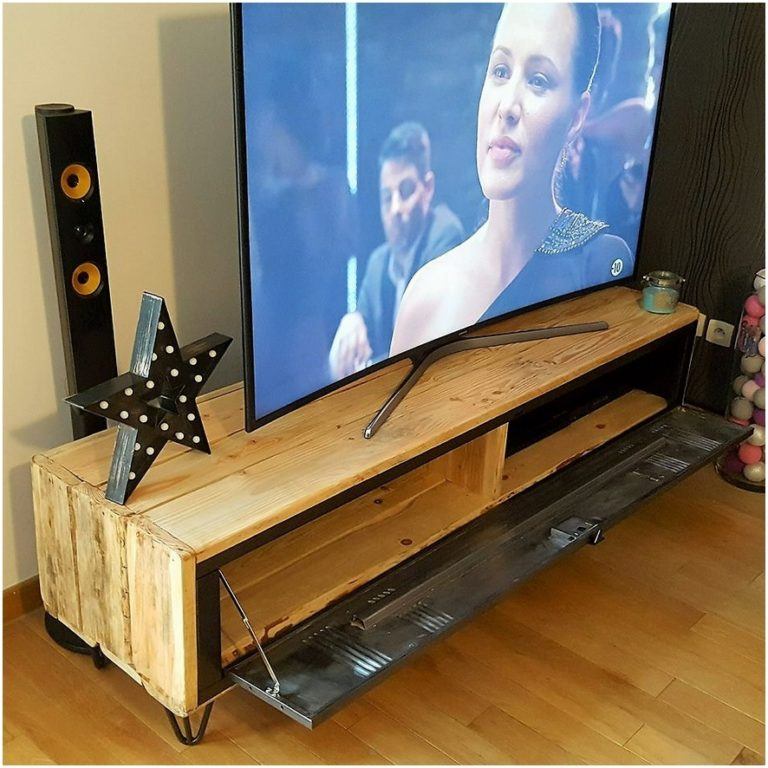 recycled wood pallets tv stand with storage pallet ideas