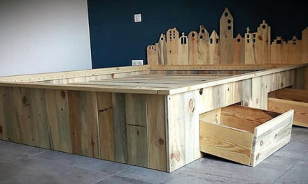 Recycled Wooden Pallet Giant Bed Frame with Storage