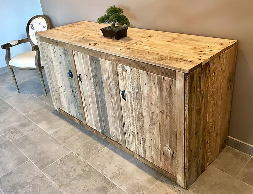 Pallet Foyer Bench : Recycled pallets entryway giant table with drawers