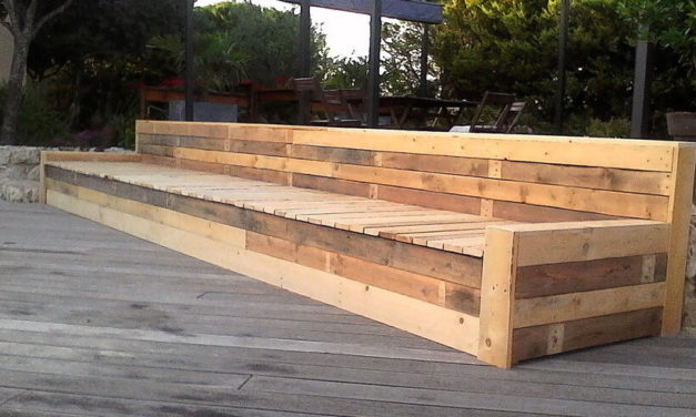 Long Bench Made with Reused Wood Pallets