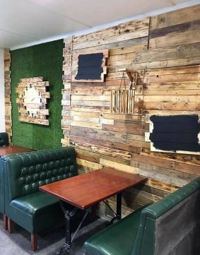 wood pallet wall art in cafe