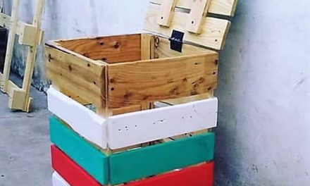 Wood Pallets Reused Trash Can