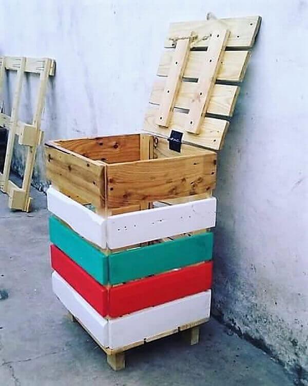 Wood Pallets Reused Trash Can