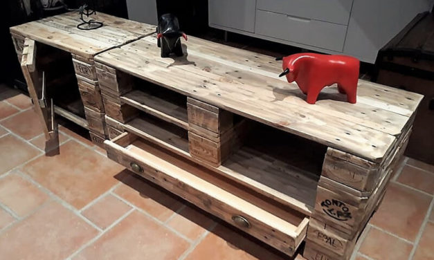 Creative TV Stand Idea with Used Pallets