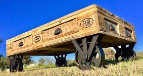 wood pallet table on wheels