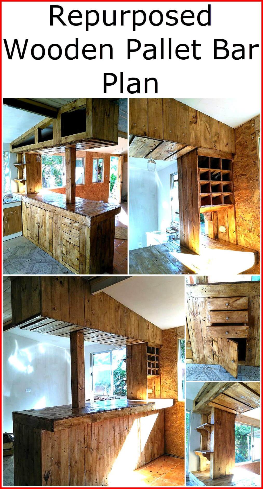 Repurposed Wooden Pallet Bar Plan
