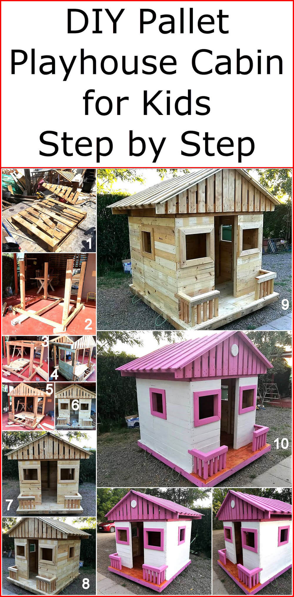 DIY Pallet Playhouse Cabin for Kids Step by Step