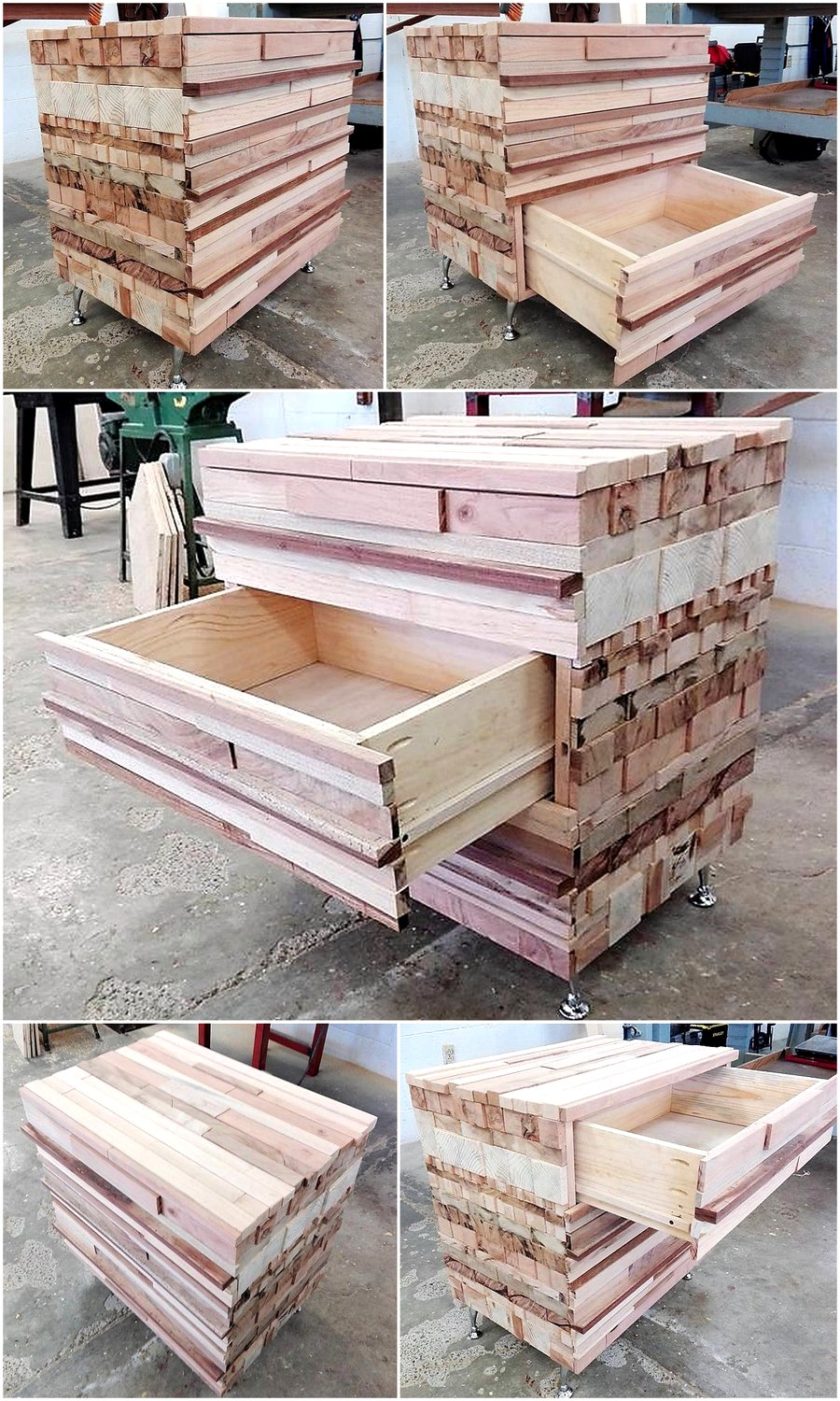 Recycled Wood Pallet Dresser Table with Drawers