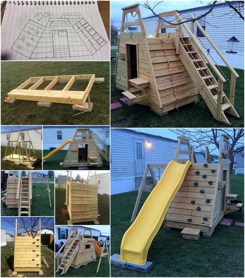 diy pallets wood kids play land