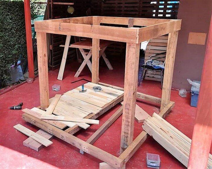 diy raw pallets playhouse