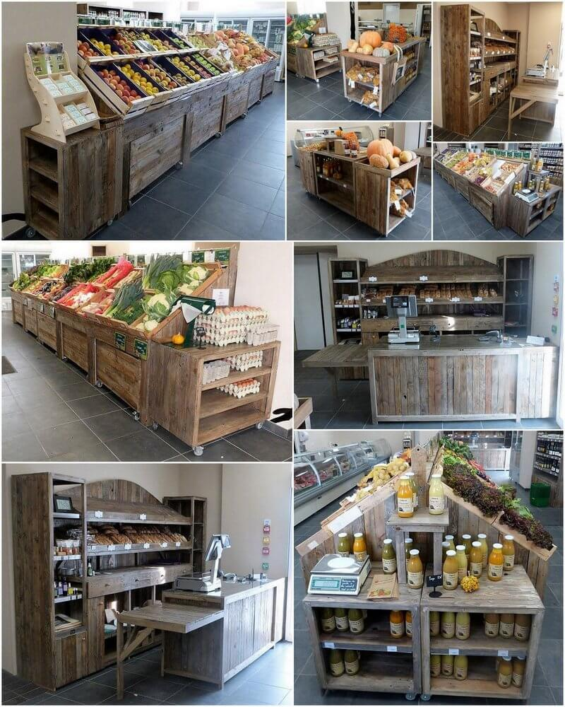 pallet shop counter and shelving rack