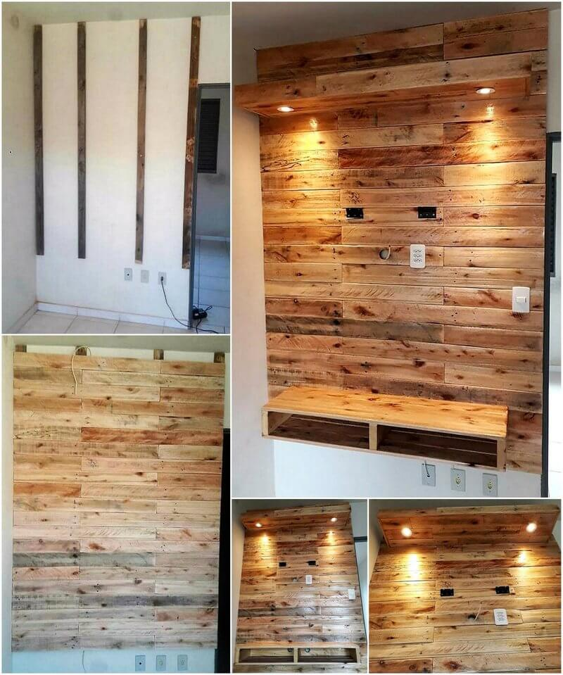 pallet wooden wall led art