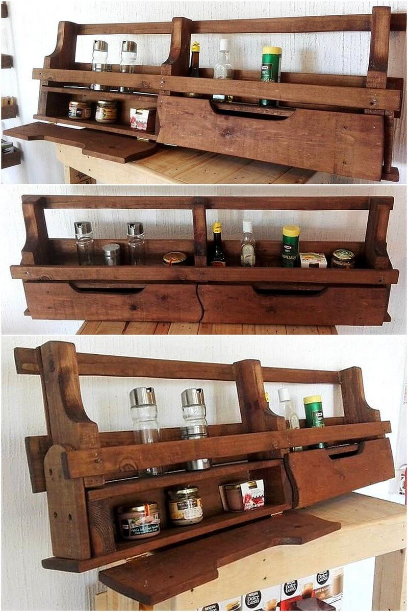 pallets made kitchen spice rack