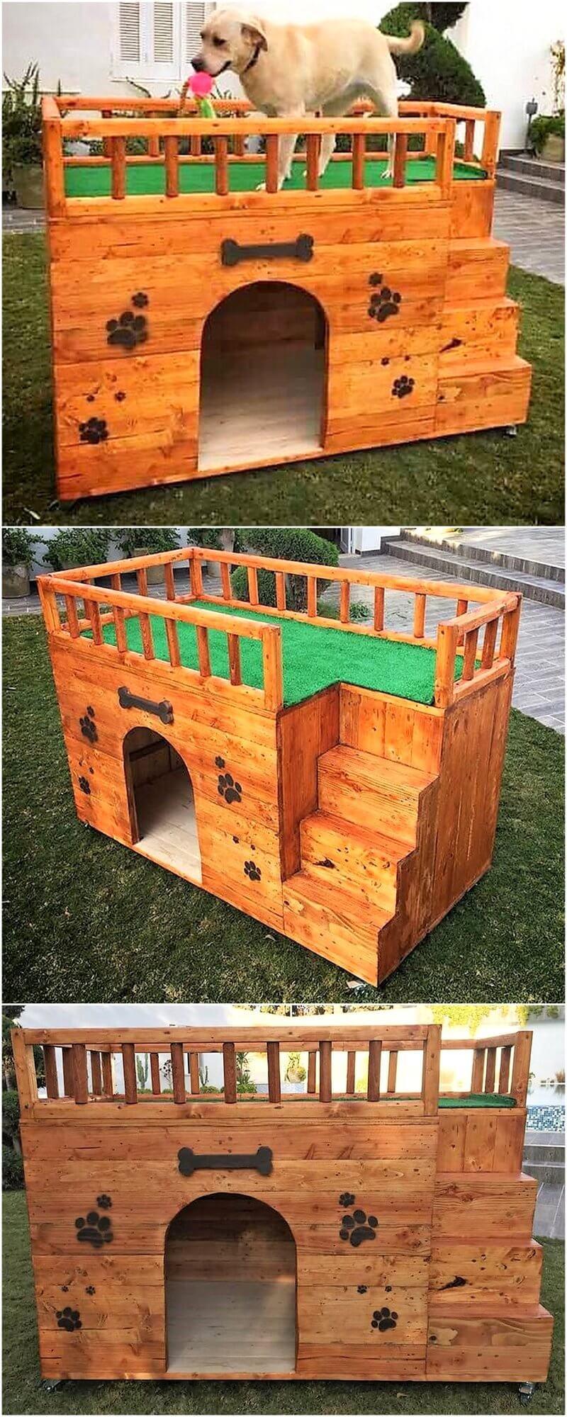 pallets wood made dog hosue plan