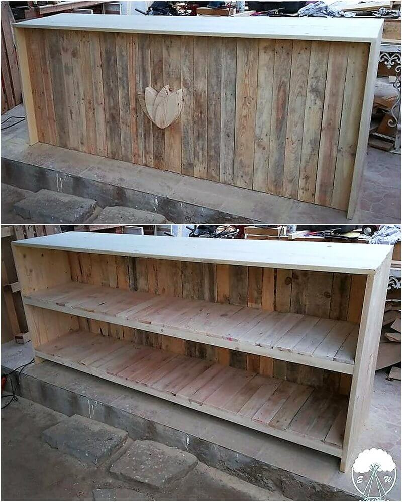 pallets wooden bar counter