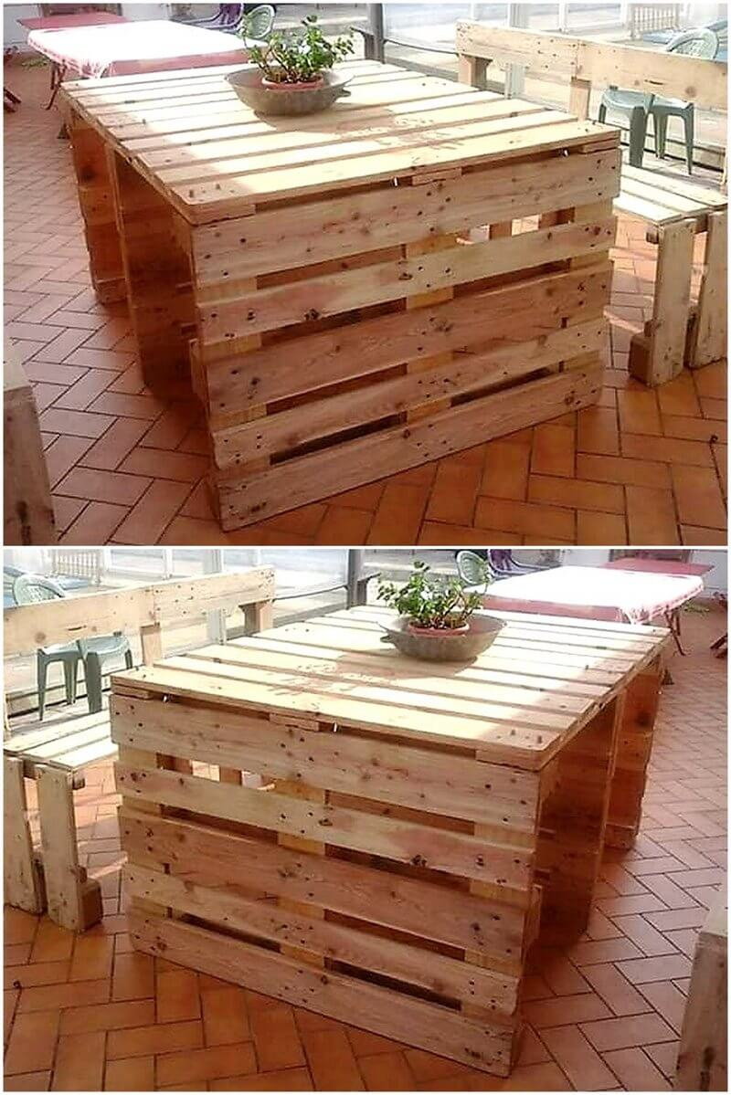 recycled pallets dining set