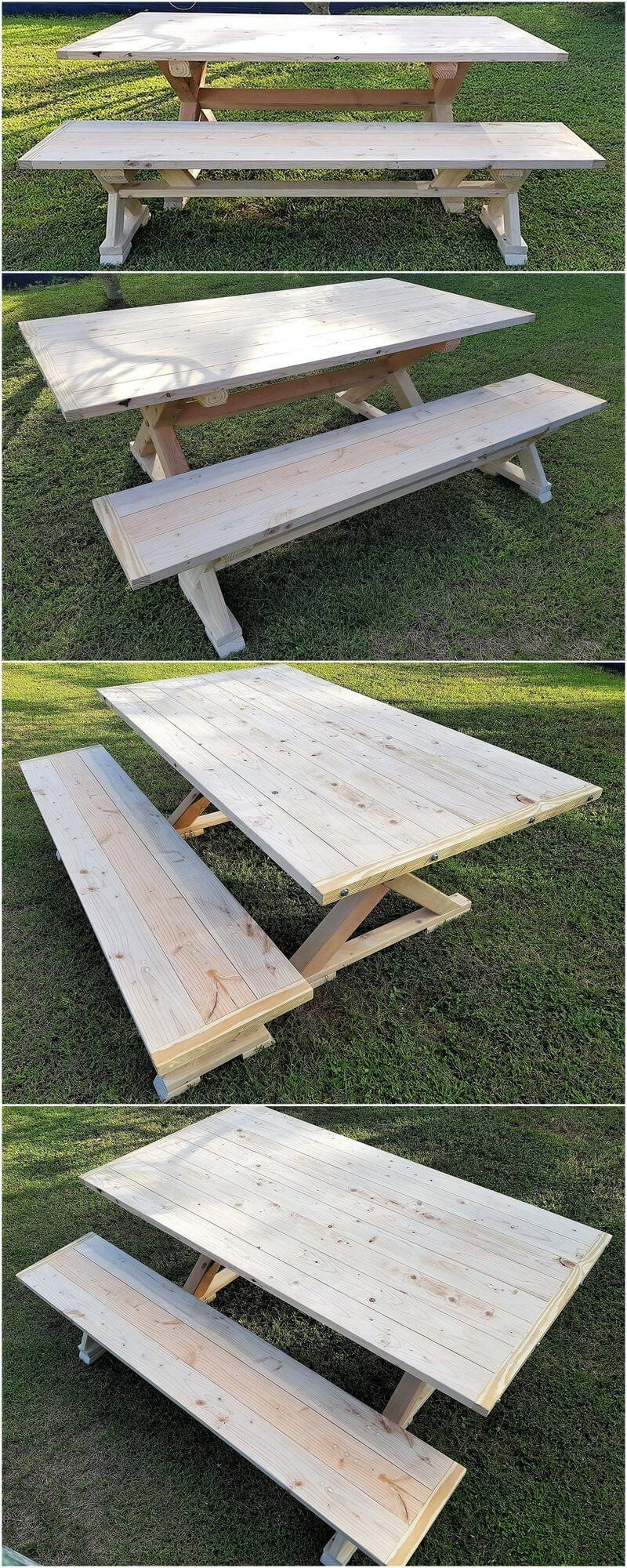 recycled pallets farmhouse style dining table and bench