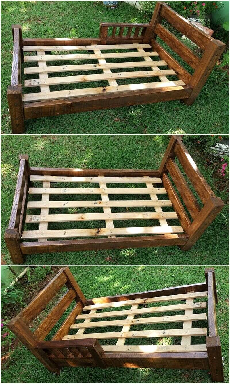 repurposed pallets wooden bed frame