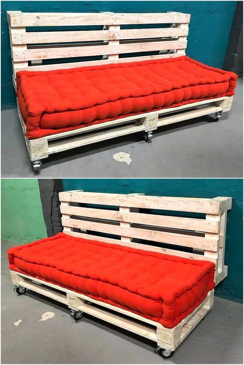 reused pallet sofa on wheels