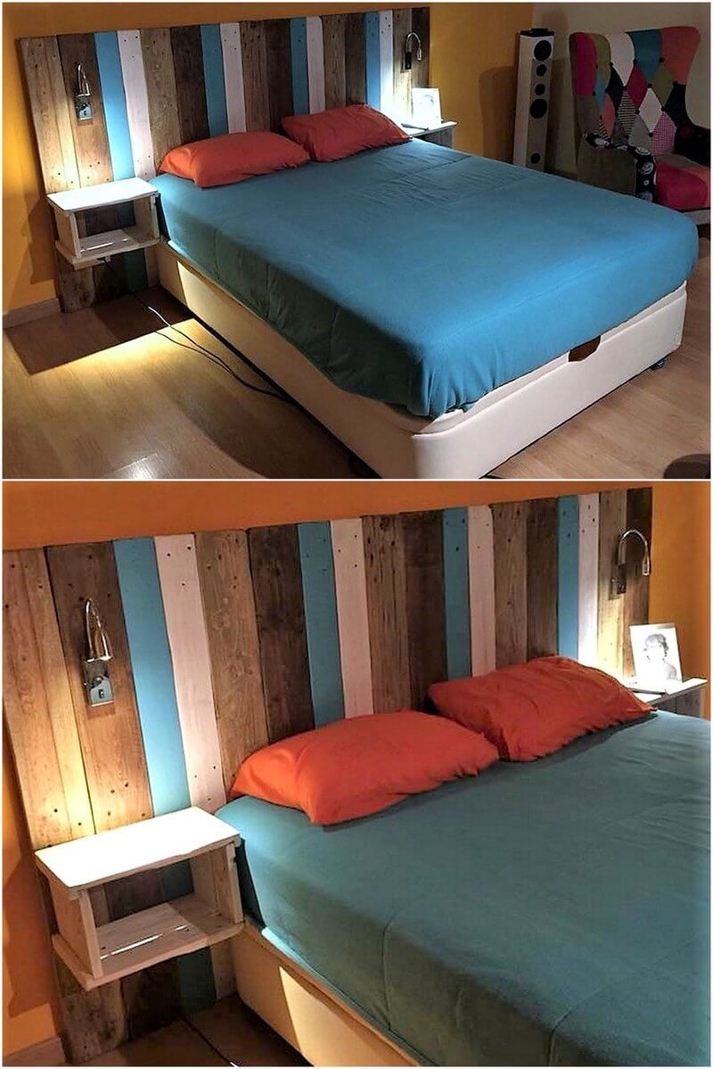 reused pallets bed headboard