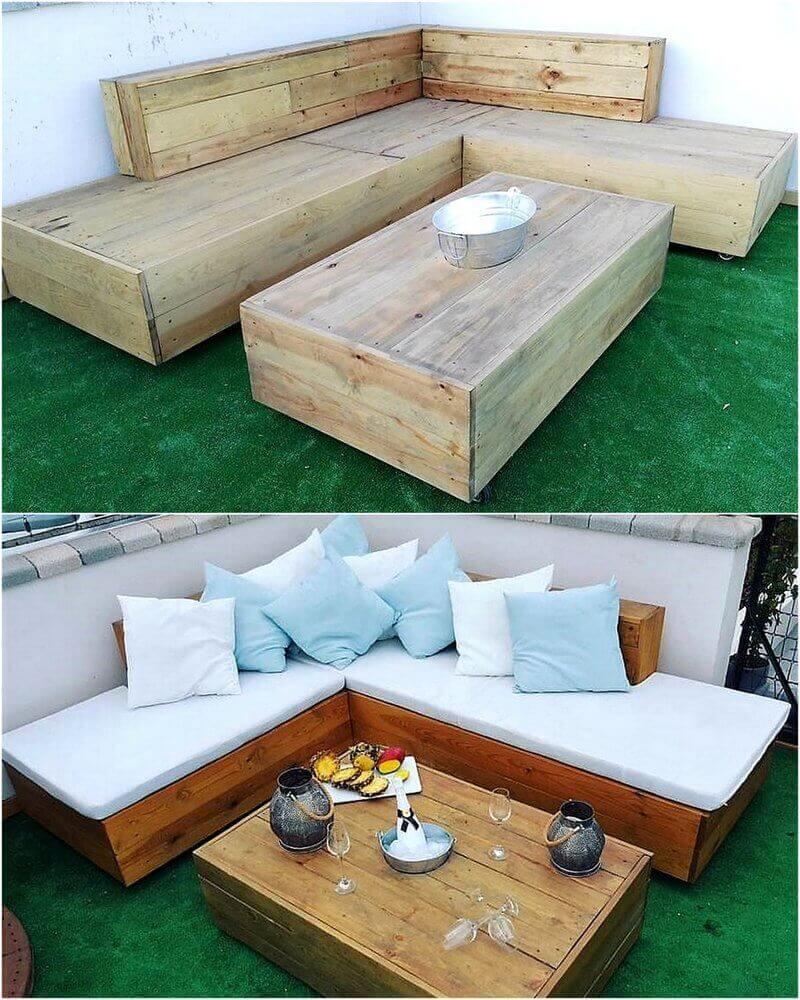 reused wood pallet patio lounge