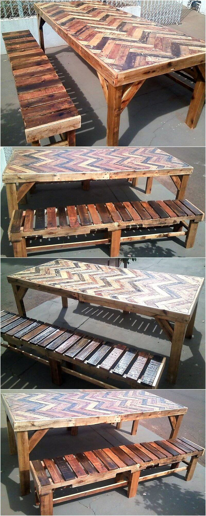 rustic look pallet dining table with benches