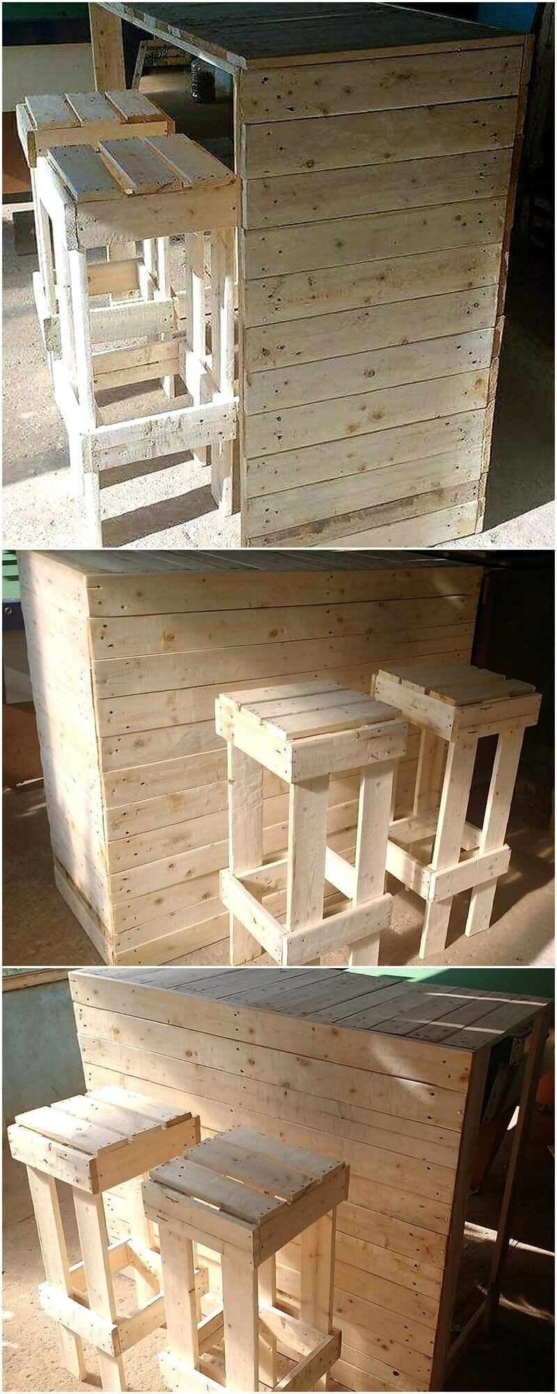 simple pallet bar with stools