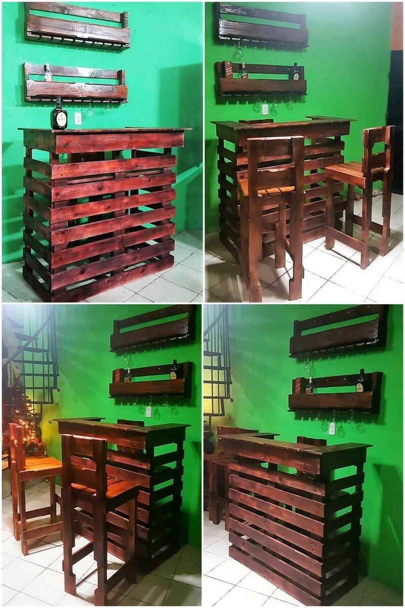 simple wood pallet bar