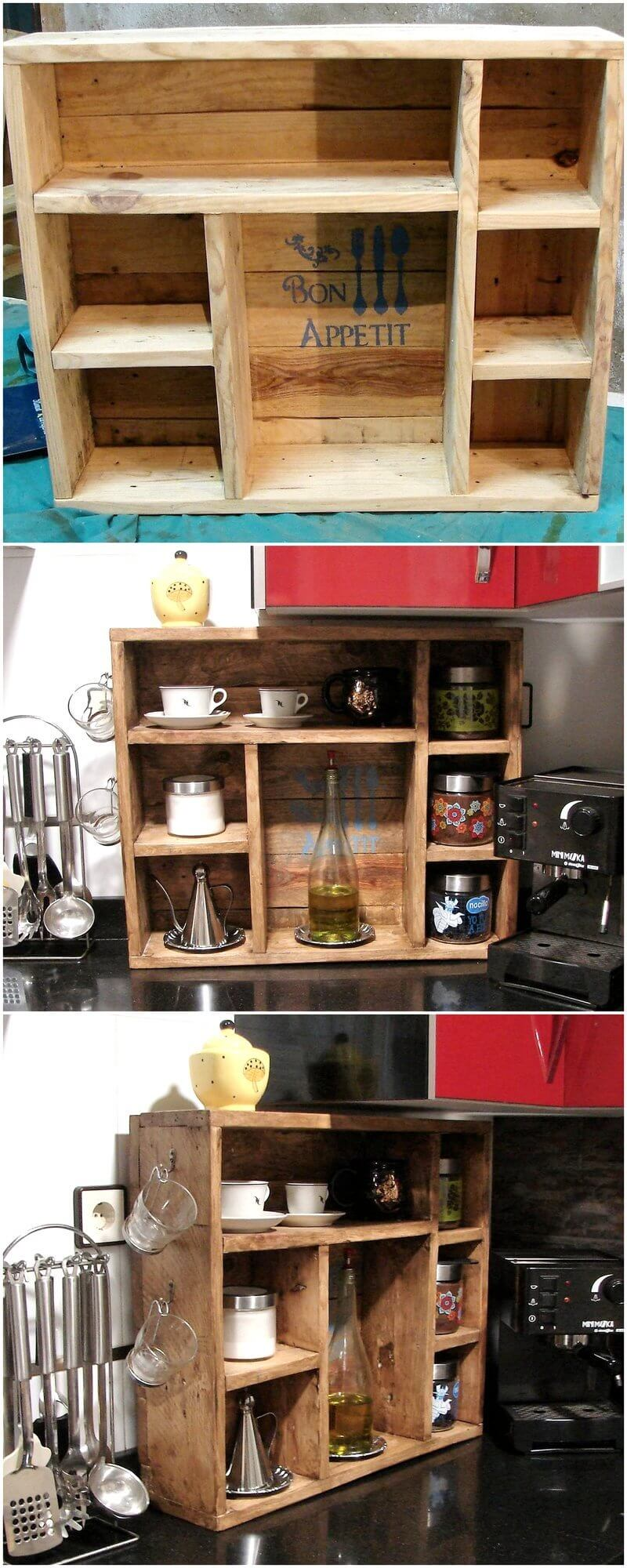wood pallet kitchen shelving rack