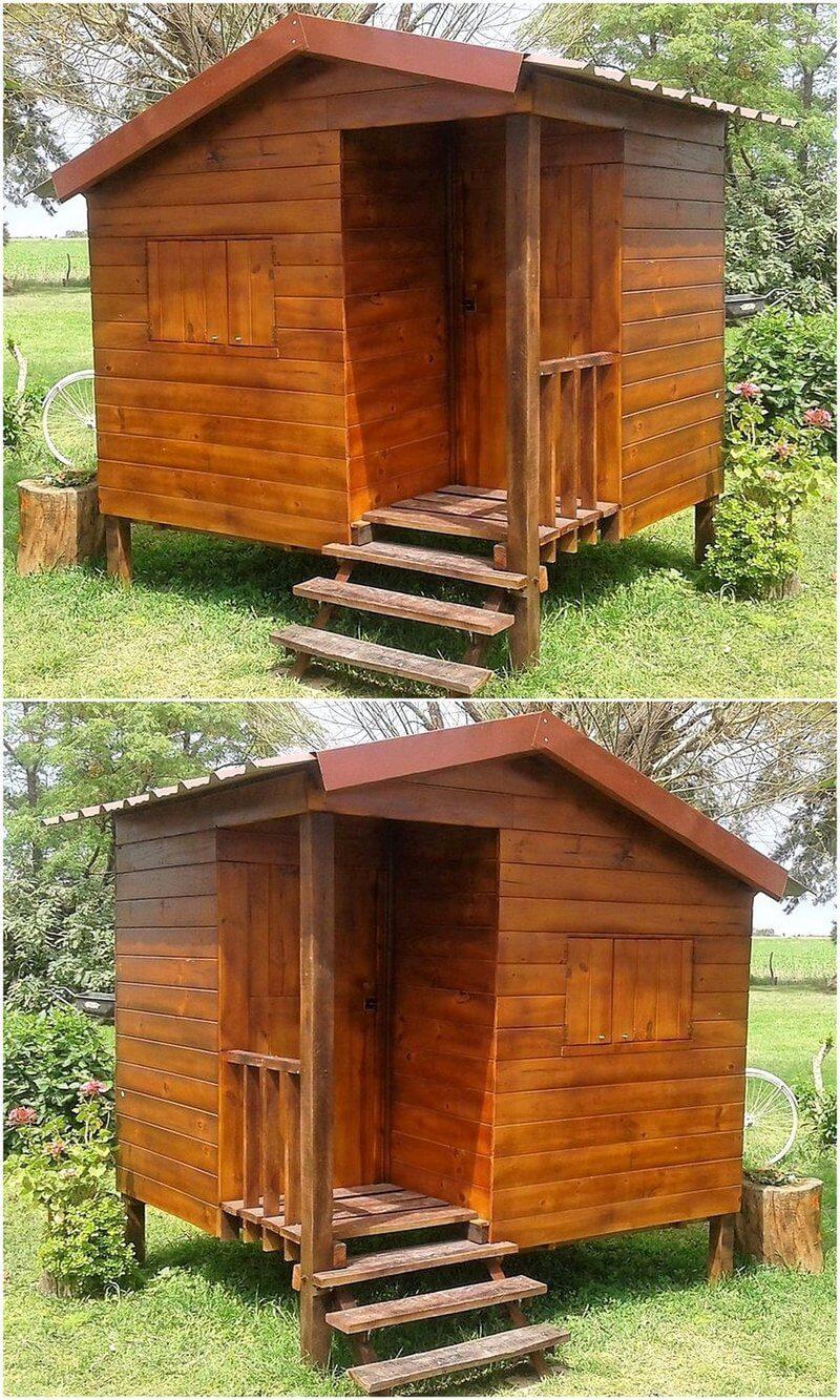 wooden pallet garden cabin