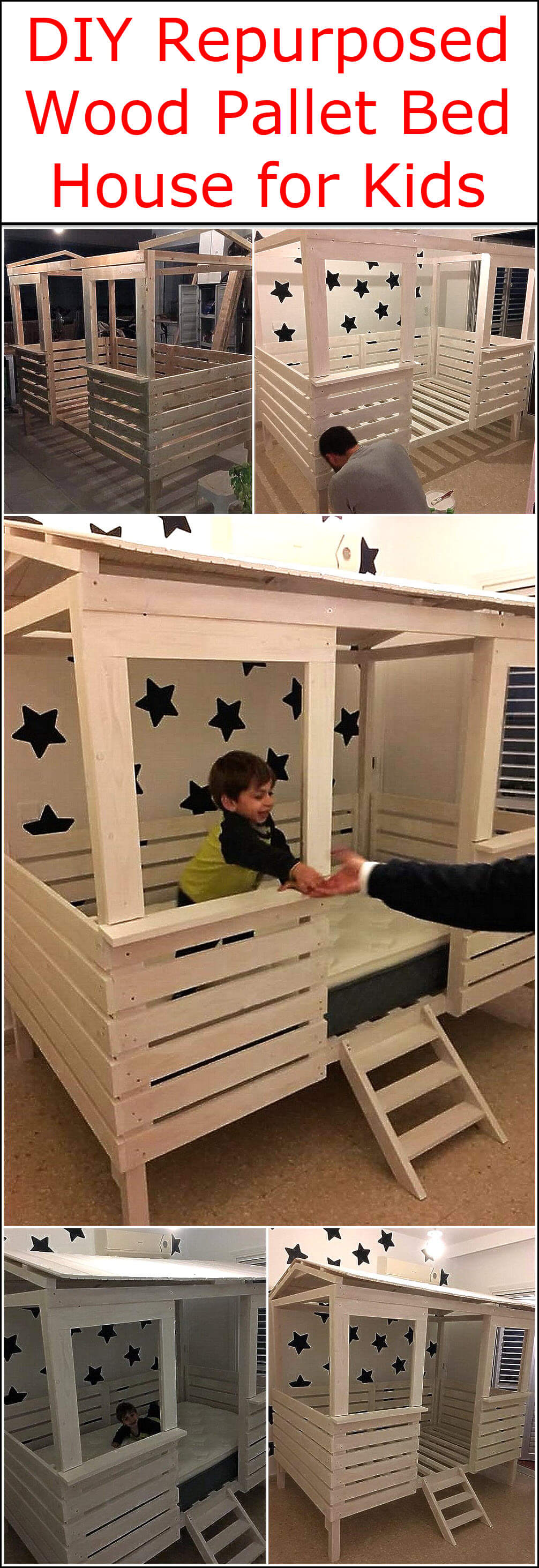 DIY Repurposed Wood Pallet Bed House for Kids