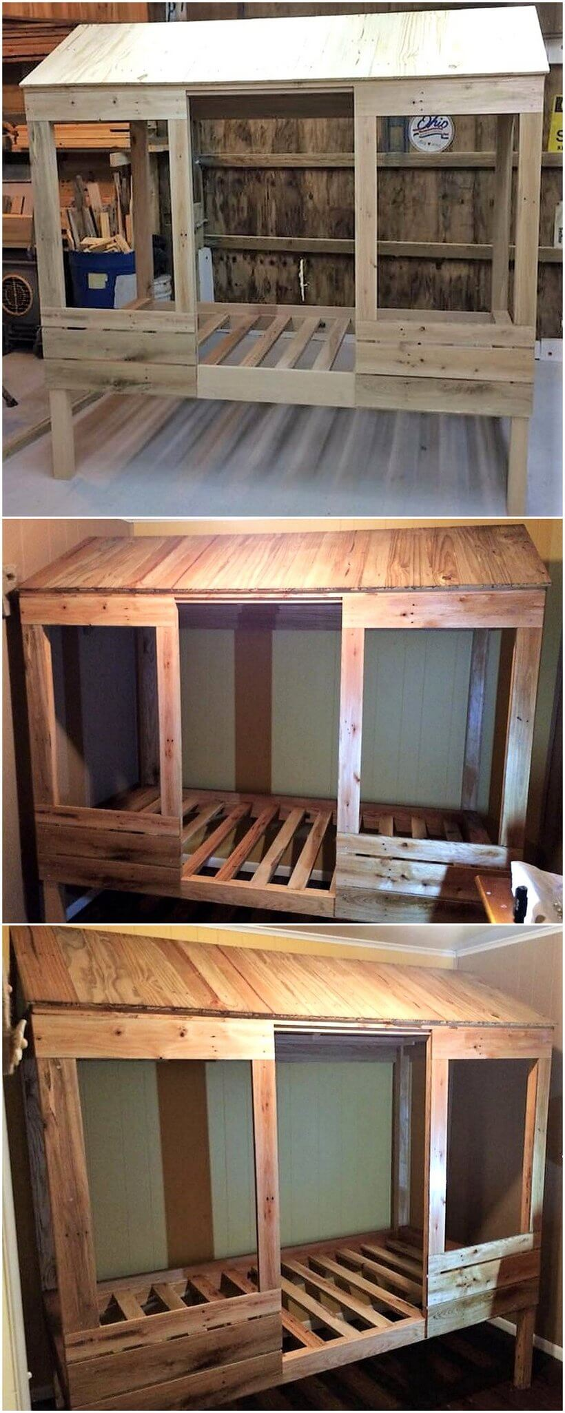 Wood Pallets Twin Bed for Kids