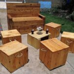 Repurposed Wood Pallets Garden Furniture Set