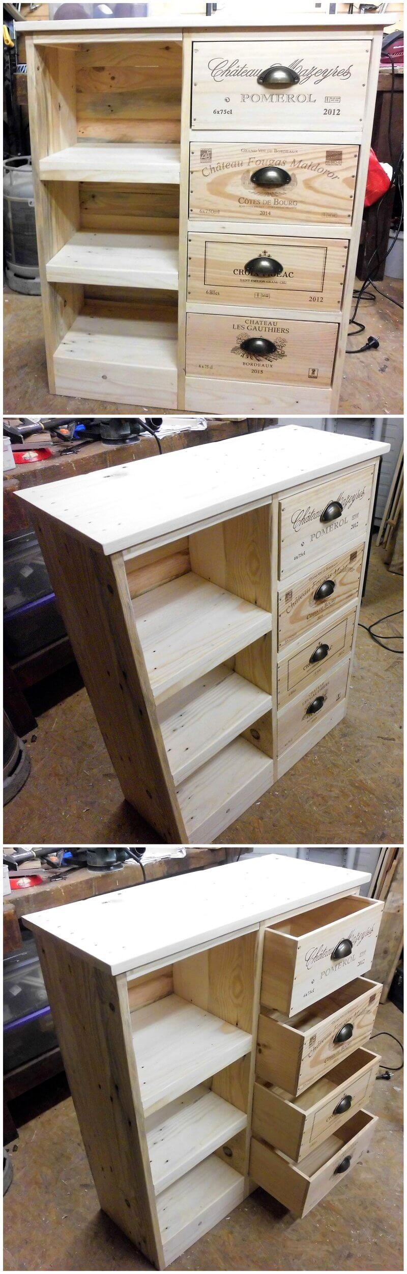pallet chest of drawers with shelves