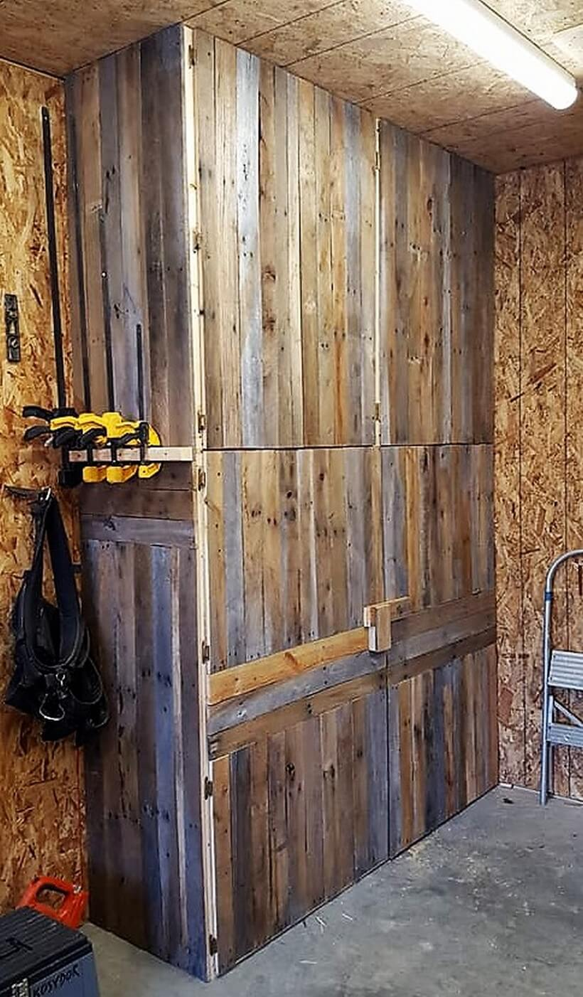 pallets wall storage and tool cabinets